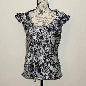 Sunny Leigh Blouse Black & White Size Medium